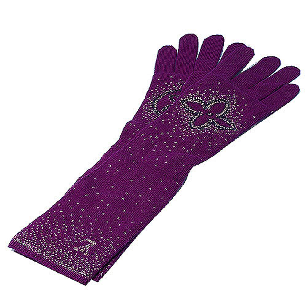 LV M72760 Monogram Poliana金銀絲喀什米爾長手套(深紫色)