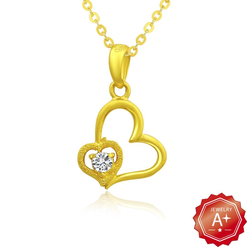 A 黃金 晶鑽心戀心 9999純金項鍊