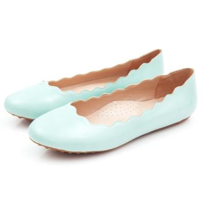G.Ms.  馬卡龍女孩-波浪曲線造型豆豆鞋-湖水藍綠