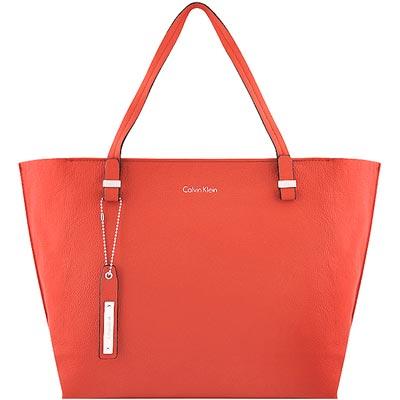Calvin Klein 橘紅色皮革壓紋托特包