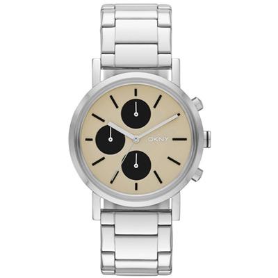 DKNY 搶眼定番都會三眼計時腕錶-卡其/38mm