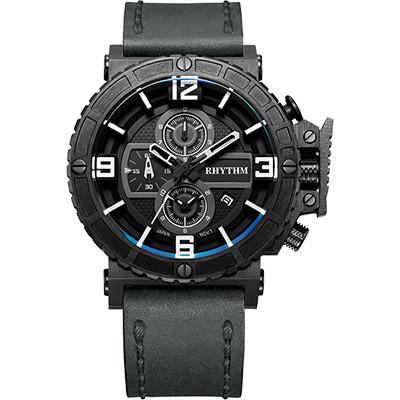 RHYTHM日本麗聲 運動系列大錶徑計時手錶-黑x灰/46mm