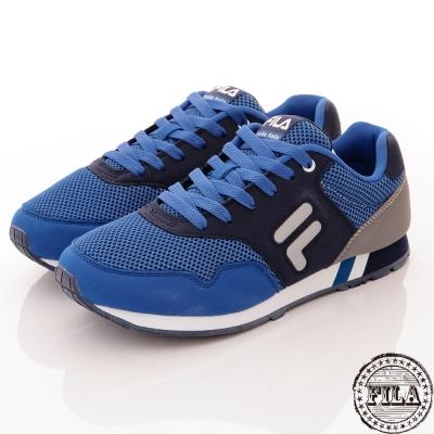 FILA 男款 舒適復古網狀慢跑鞋~藍 1-J916Q-301
