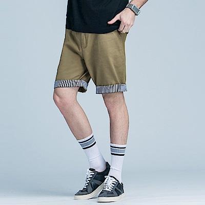 直條紋反摺造型休閒短褲‧3色-OB大尺碼
