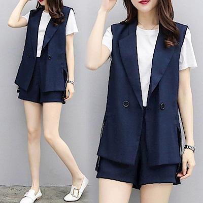 中大尺碼藍色翻領西裝背心加短褲兩件式套裝XL~4L-Ballet Dolly