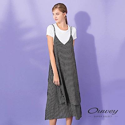 OUWEY歐薇 活片造型兩件式印花洋裝(黑)