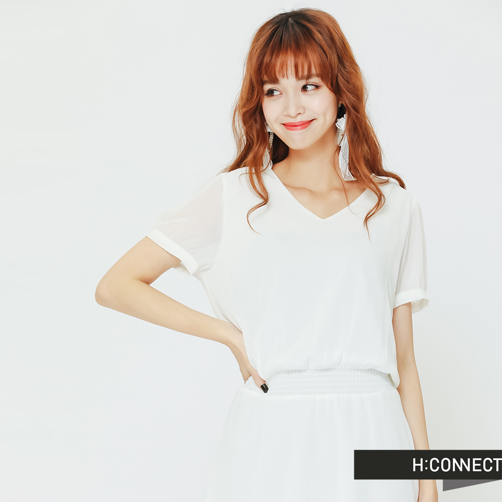 H:CONNECT 韓國品牌 女裝 - 微澎袖收腰雪紡洋裝-白