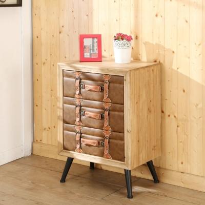 BuyJM 木製皮面三抽斗櫃/收納櫃/寬53x35x高76公分-免組裝