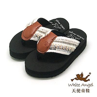 天使童鞋-卡爾蜜雅夾腳親子拖鞋(中-大童)-白