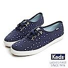 Keds CHAMPION 燙金圖騰綁帶休閒鞋-海軍藍