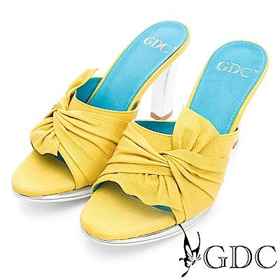 GDC-真皮時尚扭結設計感粗跟拖鞋-黃色