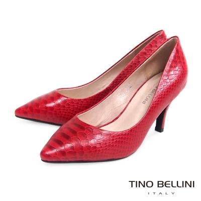 Tino-Bellini-神祕迷人精緻蛇紋真皮跟鞋-紅