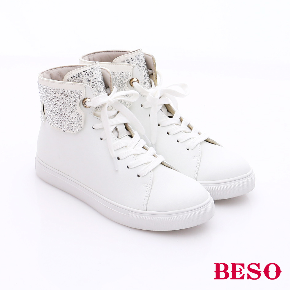 BESO 潮人街頭風 綁帶水鑽拼接高筒休閒鞋 白色