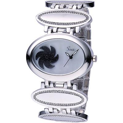Sense 轉運風車晶鑽時尚錶-白x黑/44mm