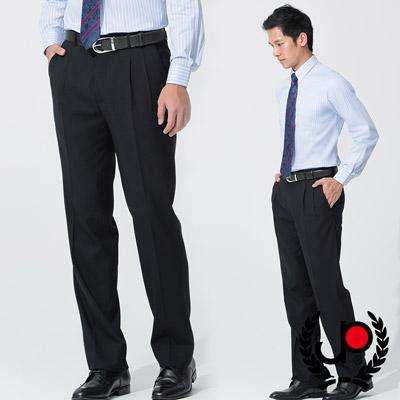 【極品西服】-正式品味仿毛修身雙摺西褲_深藍(BS537-2)