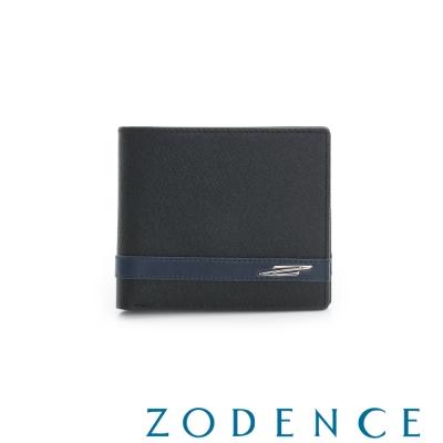 ZODENCE MAN 義大利牛皮系列條紋配色設計短夾 黑