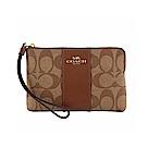 COACH LOGO馬車布面皮革系列拉鍊手拿包 棕色