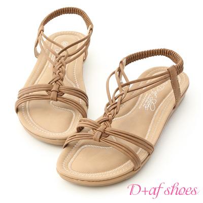D+AF 初夏涼氛.交叉細帶平底編織涼鞋*棕