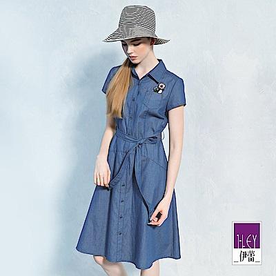 ILEY伊蕾 輕薄舒適長版牛仔洋裝(藍)
