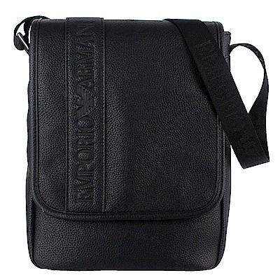 ARMANI 黑色經典字樣仿皮材質直立式斜背包
