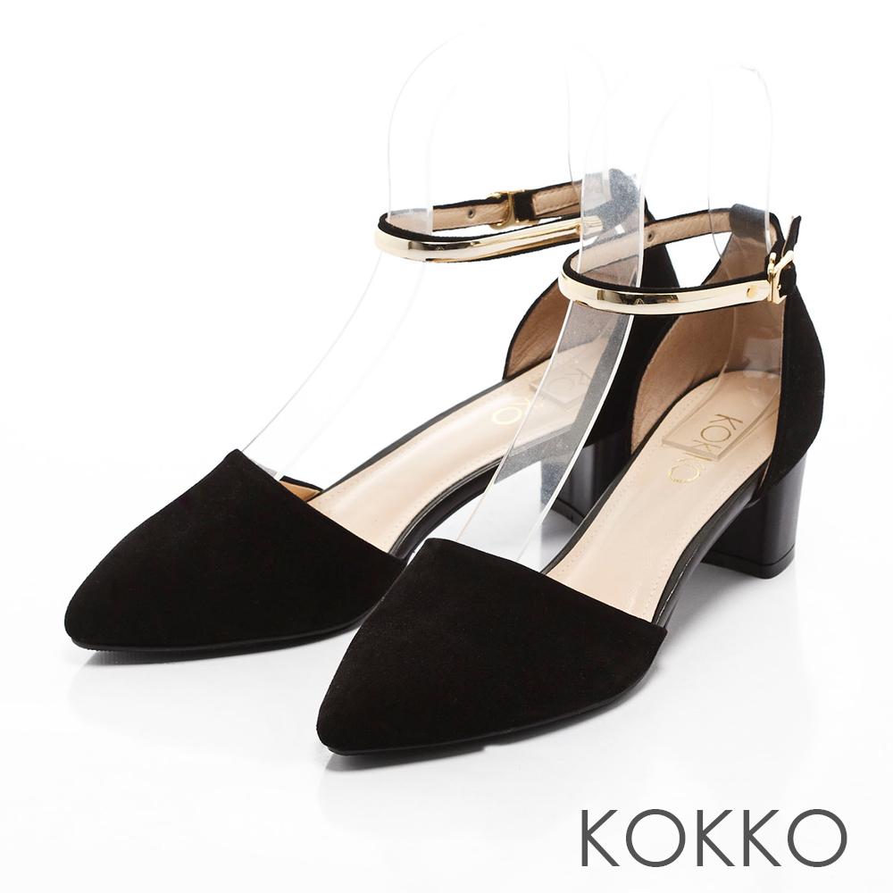KOKKO-真皮法式優雅金屬繫踝粗跟鞋 - 麂皮黑