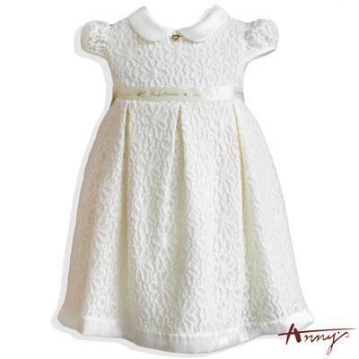 Annys精緻公主系翻領花花蕾絲緞帶洋裝*6508米白