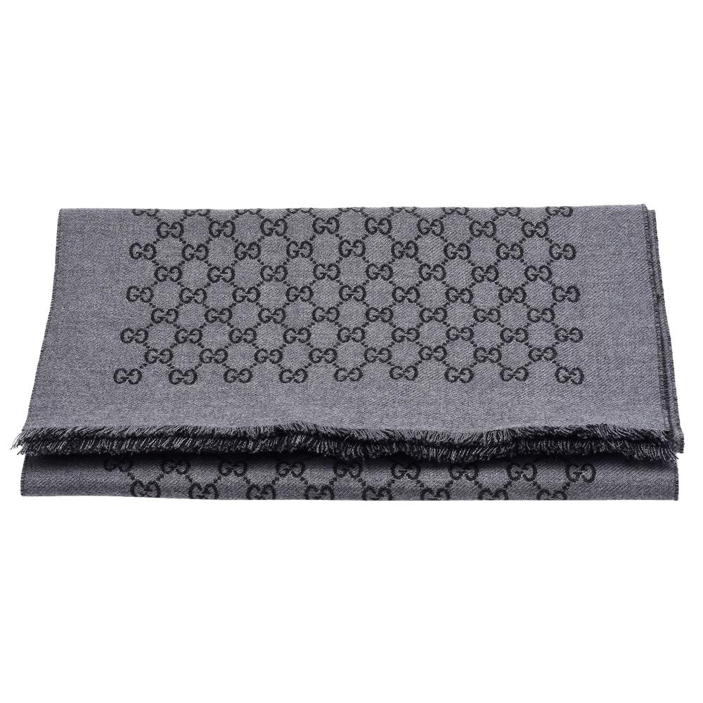 GUCCI 經典GG緹花線條羊毛雙色流蘇披巾/圍巾(深灰X黑)GUCCI