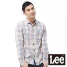 Lee 長袖襯衫 法藍絨-男款(粉橘+藍格紋)