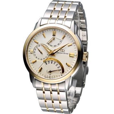 Orient Star 經典逆跳動力儲存機械腕錶-米黃/40mm