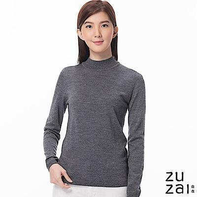 zuzai 自在發熱衣BIELLA YARN女高領羊毛衫-霧黑色