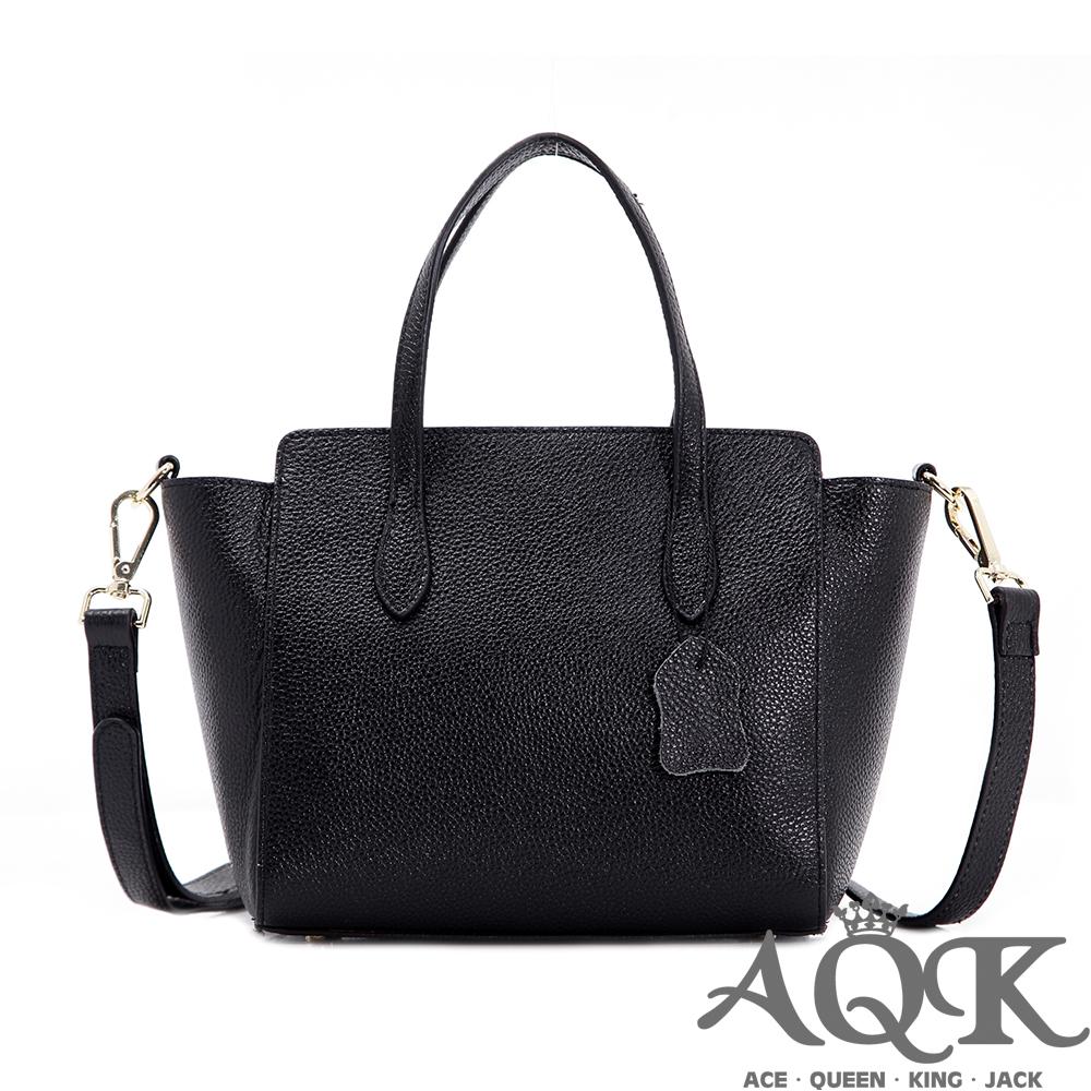 AQK 牛皮小巧2way斜背包-黑