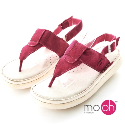 mo.oh-全真皮麂皮足弓舒適氣墊夾腳涼鞋-桃紅