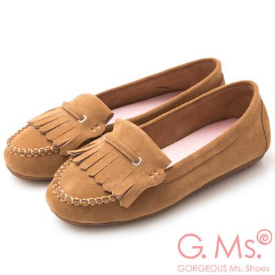 G.Ms. 牛麂皮減壓豆豆底流蘇莫卡辛鞋-駝色