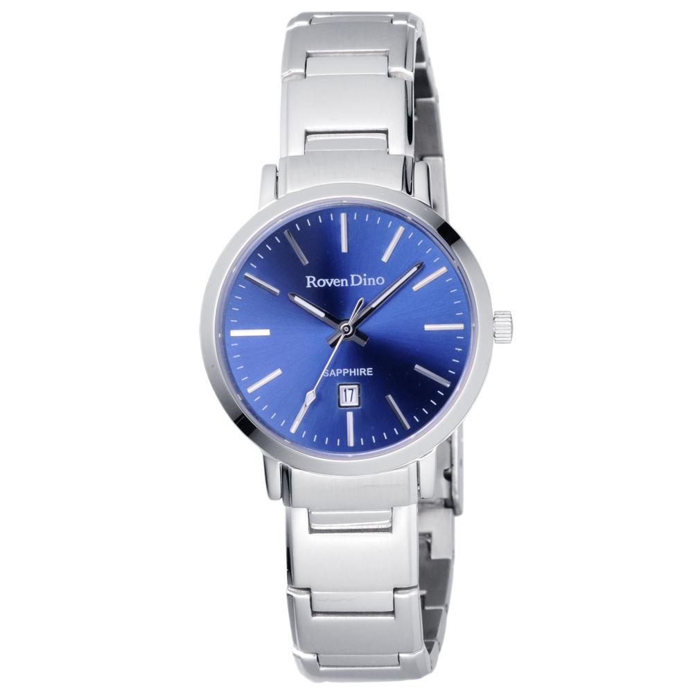 Roven Dino羅梵迪諾 色彩抉擇時尚日期腕錶-藍X銀/30mm