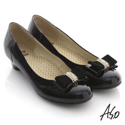 A.S.O 舒活系列 真皮鑽飾蝴蝶結金屬低跟鞋 黑