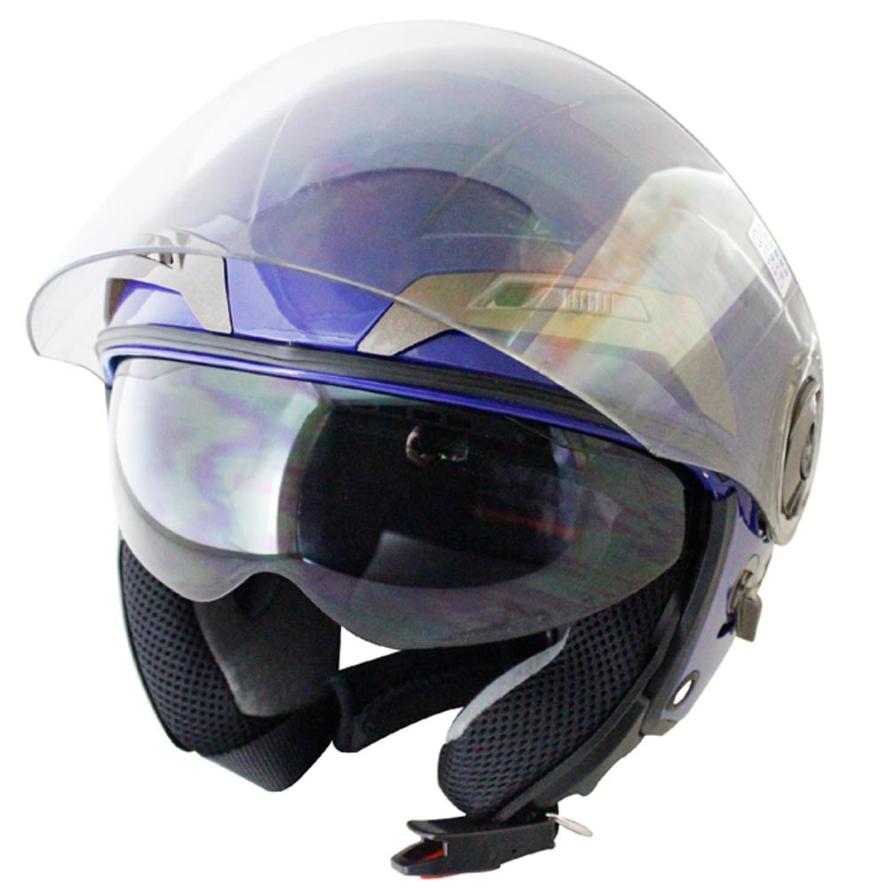勇氣可掀式雙鏡片半罩安全帽T314A-藍白+新一代免洗安全帽內襯套6入-急速配