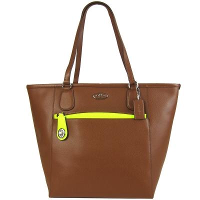 COACH 馬車防刮PVC前袋防刮肩背托特包(咖啡/萬用袋)