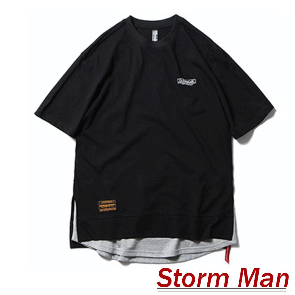 數字印花側開衩拼接假兩件上衣 (共四色)-Storm Man