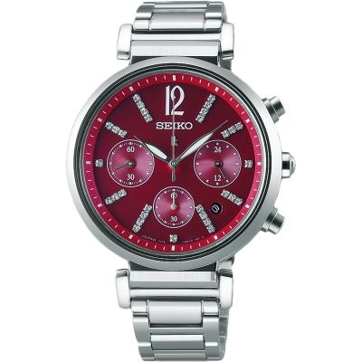 (無卡分期6期)SEIKO LUKIA 太陽能夏日限定計時女錶(SSVS029J)-紅/36mm