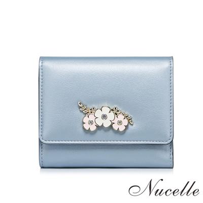 NUCELLE-簡約珠光花朵短夾-海洋藍