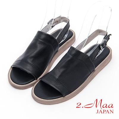 2.Maa - 仿舊風格休閒羊皮涼拖鞋 - 黑