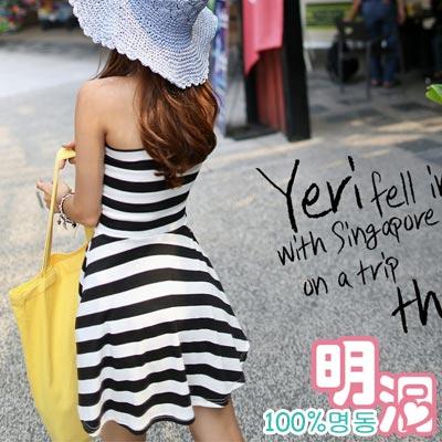 【100%明洞】黑白條紋彈性平口洋裝 (共二色)