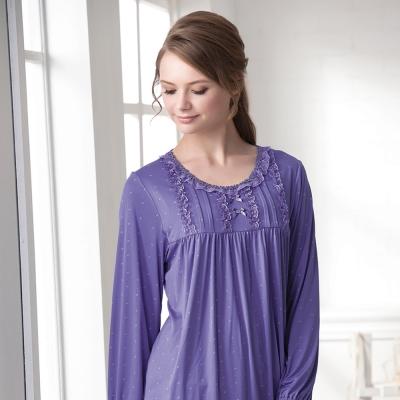 羅絲美睡衣 - 幸福旅行長袖褲裝睡衣(深紫色)