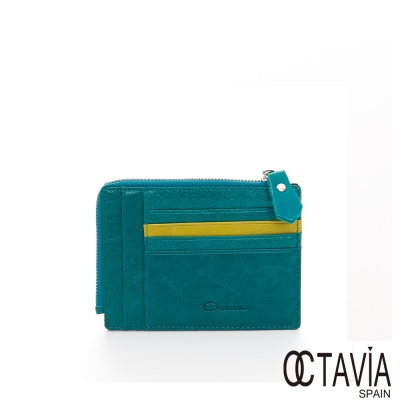 OCTAVIA-真皮-喬治亞-油蠟牛皮多層次萬用卡片夾-松綠
