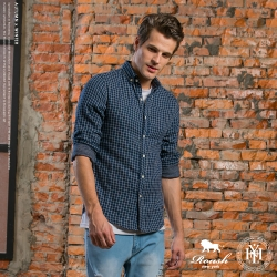 ROUSH (Slim fit) 雙層格紋合身版襯衫 (3色)