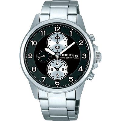 SEIKO SPIRIT 三眼計時腕錶(SBTQ089J)-黑/41mm