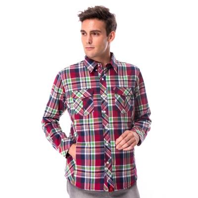 【hilltop山頂鳥】男款長袖格子保暖襯衫C05M18紅