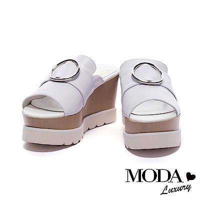 涼鞋MODA Luxury 摩登前衛圓形金屬飾釦木紋拼接後底拖鞋-白