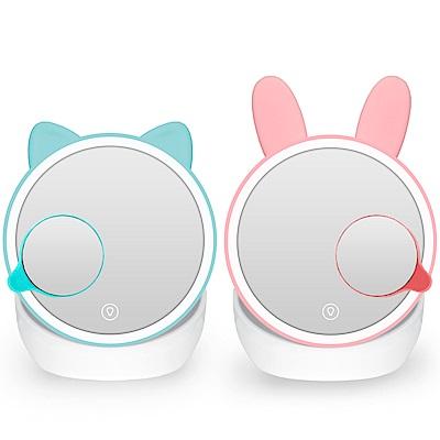 萌寵LED雙色溫補光收納化妝鏡