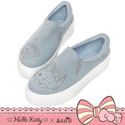 HELLO KITTY X Ann S 花園系列牛仔布厚底懶人鞋-藍